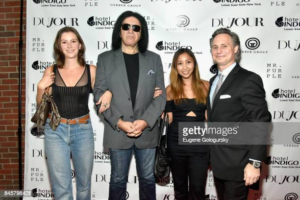 Actress Saskia Starck Musican Gene Simmons Publicist Diyanti Camilla CEO Founder of DuJour Media Jason Binn attend the fashion week celebration with...