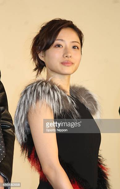 Actress Satomi Ishihara is seen during the promotion of the movie 'Attack on Titan' at Roppongi Hills on August 14 2015 in Tokyo Japan