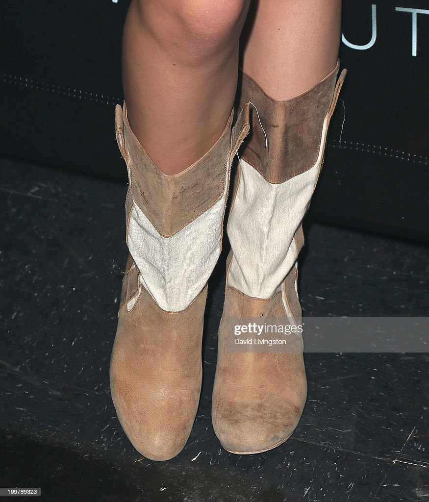 Actress Savannah Jayde (shoe detail) attends the kickoff for Max Schneider's 'Nothing Without Love' summer tour at the Roxy Theatre on June 1, 2013 in West Hollywood, California.