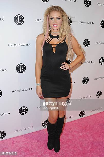 Actress Saxon Sharbino arrives at the 4th Annual Beautycon Festival Los Angeles at Los Angeles Convention Center on July 9 2016 in Los Angeles...