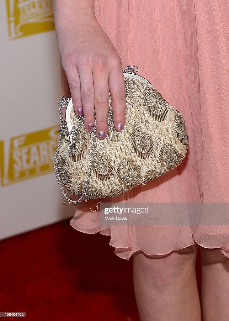 Actress Saxon Sharbino (Handbag Detail) arrives at the FOX After Party for the 70th Annual Golden Globe Awards held at The FOX Pavillion at The Beverly Hilton Hotel on January 13, 2013 in Beverly Hills, California.