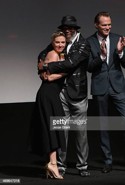 Actress Scarlett Johansson actor Samuel L Jackson and actor Paul Bettany appear onstage at the world premiere of Marvel's 'Avengers Age Of Ultron' at...