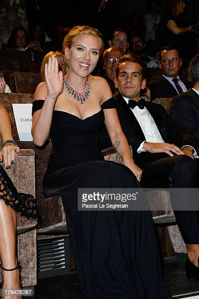 Actress Scarlett Johansson and and Romain Dauriac attend 'Under The Skin' Premiere during the 70th Venice International Film Festival at Palazzo del...