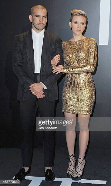 Actress Scarlett Johansson and husband Romain Dauriac arrive at Tom Ford Autumn/Winter 2015 Womenswear Collection Presentation at Milk Studios on...