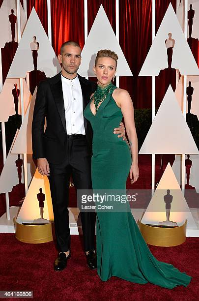 Actress Scarlett Johansson and husband Romain Dauriac attend the 87th Annual Academy Awards at Hollywood Highland Center on February 22 2015 in...