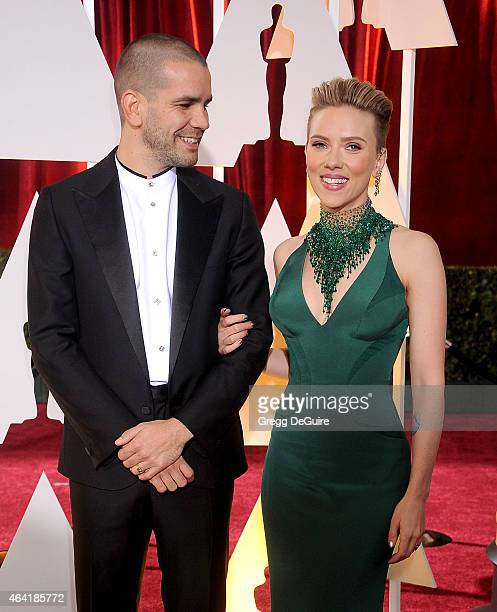 Actress Scarlett Johansson and Romain Dauriac arrive at the 87th Annual Academy Awards at Hollywood Highland Center on February 22 2015 in Hollywood...