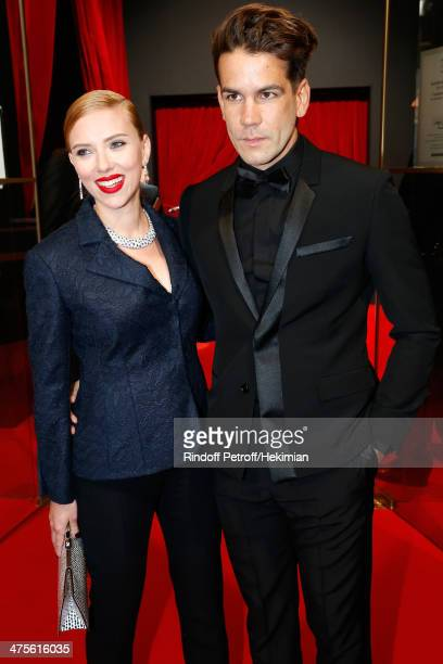 Actress Scarlett Johansson and Romain Dauriac arrive for the 39th Cesar Film Awards 2014 at Theatre du Chatelet on February 28 2014 in Paris France