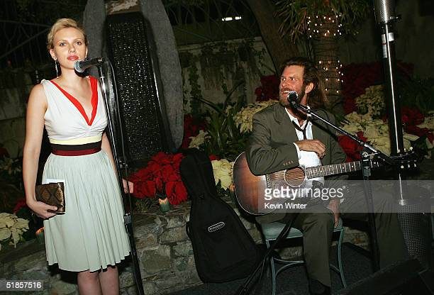 Actress Scarlett Johansson announces songwriter Grayson Capps at the afterparty for the premiere of Lions Gate's 'A Love Song for Bobby Long' at...