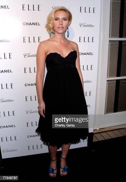 Actress Scarlett Johansson arrives at Elle's 14th Annual Women in Hollywood party held at the Four Seasons on October 15 2007 in Los Angeles...
