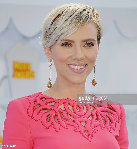 Actress Scarlett Johansson arrives at the 2015 MTV Movie Awards at Nokia Theatre LA Live on April 12 2015 in Los Angeles California