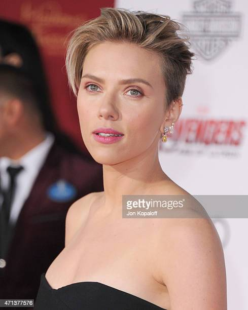 Actress Scarlett Johansson arrives at the Los Angeles Premiere Marvel's 'Avengers Age Of Ultron' at Dolby Theatre on April 13 2015 in Hollywood...