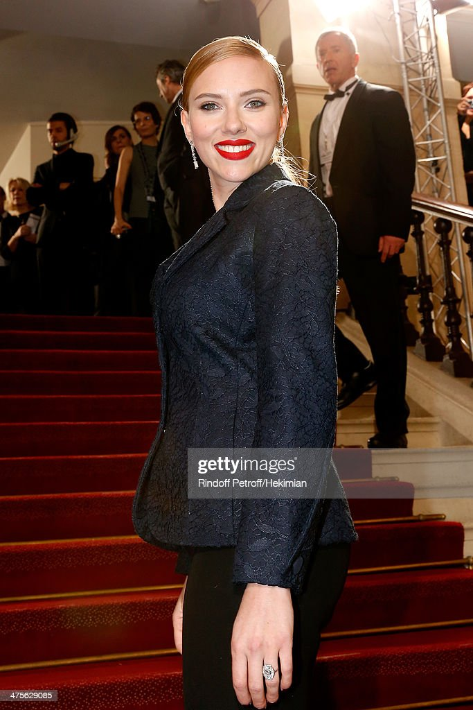 Actress <a gi-track='captionPersonalityLinkClicked' href=/galleries/search?phrase=Scarlett+Johansson&family=editorial&specificpeople=171858 ng-click='$event.stopPropagation()'>Scarlett Johansson</a> arrives for the 39th Cesar Film Awards 2014 at Theatre du Chatelet on February 28, 2014 in Paris, France.