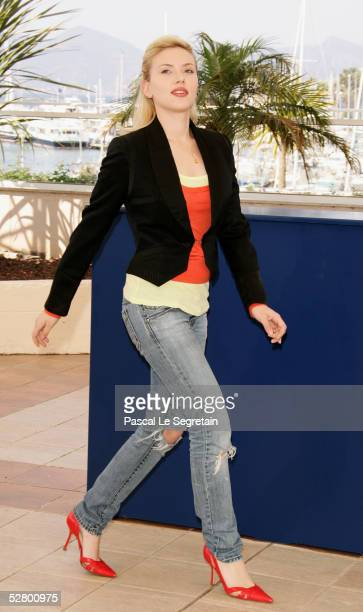 Actress Scarlett Johansson attends a photocall promoting the film 'Match Point' at the Palais during the 58th International Cannes Film Festival on...