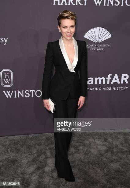 Actress Scarlett Johansson attends the 19th annual amfAR's New York Gala to kick off NY Fashion Week at Cipriani Wall Street on February 8 2017 in...