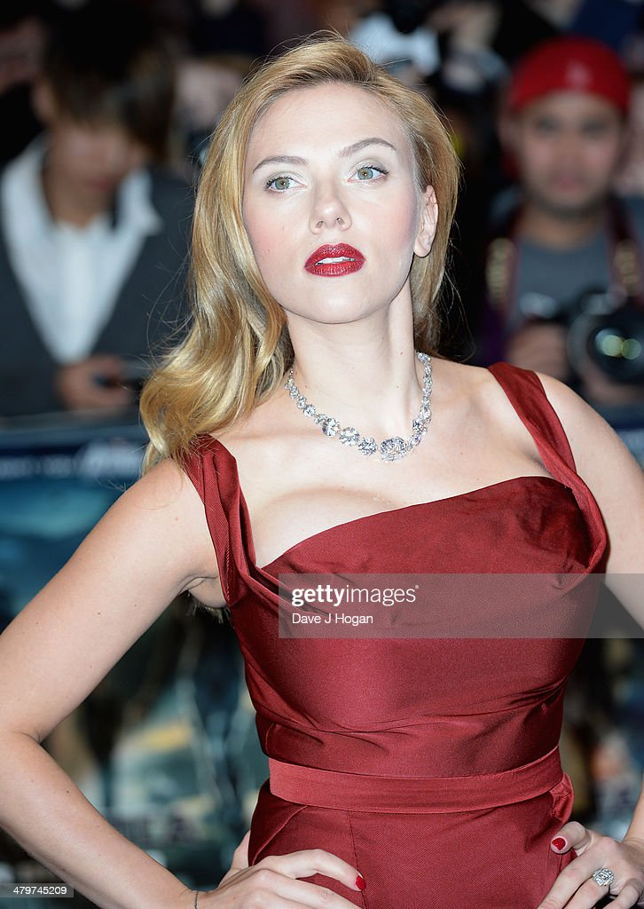 Actress Scarlett Johansson attends the 'Captain America: The Winter Soldier' UK film premiere at Westfield on March 20, 2014 in London, England.