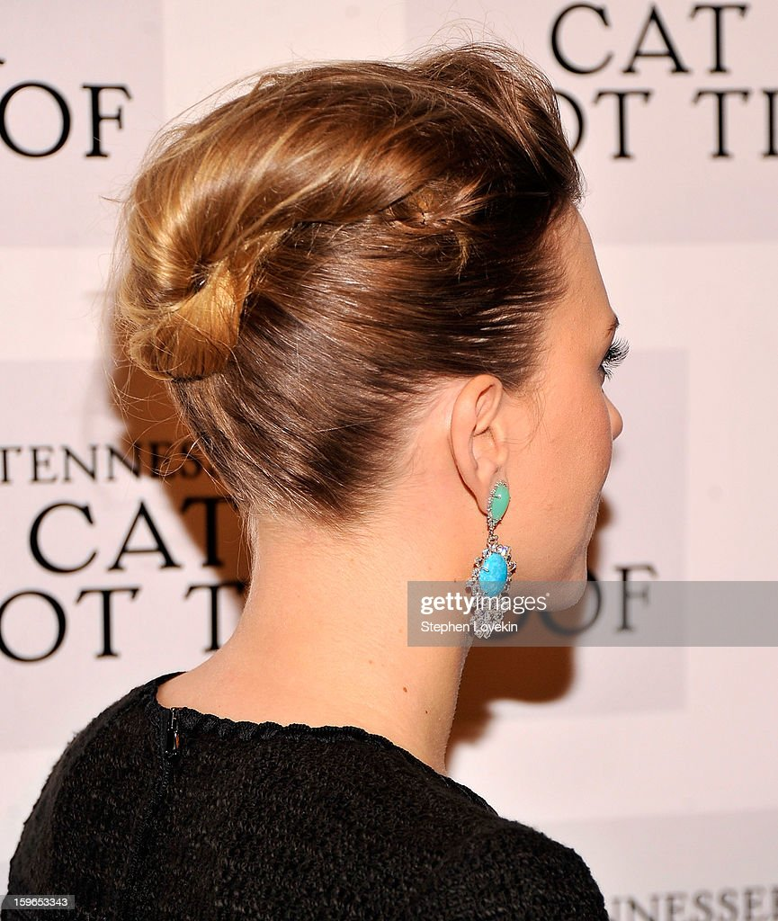 Actress Scarlett Johansson attends the 'Cat On A Hot Tin Roof' Broadway opening night after party at The Lighthouse at Chelsea Piers on January 17, 2013 in New York City.