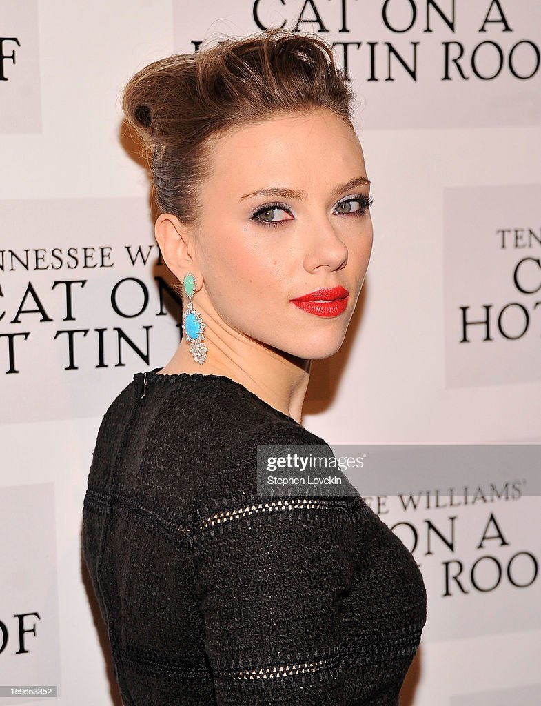 Actress <a gi-track='captionPersonalityLinkClicked' href=/galleries/search?phrase=Scarlett+Johansson&family=editorial&specificpeople=171858 ng-click='$event.stopPropagation()'>Scarlett Johansson</a> attends the 'Cat On A Hot Tin Roof' Broadway opening night after party at The Lighthouse at Chelsea Piers on January 17, 2013 in New York City.