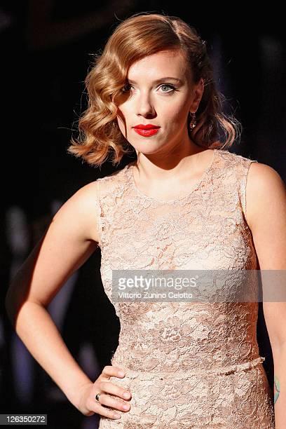 Actress Scarlett Johansson attends the Dolce Gabbana Spring/Summer 2012 fashion show as part Milan Womenswear Fashion Week on September 25 2011 in...
