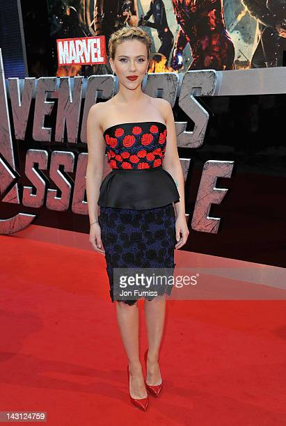 Actress Scarlett Johansson attends the European Premiere of Marvel Studios' 'Marvel's Avengers Assemble' held at the Vue Westfield on April 19 2012...