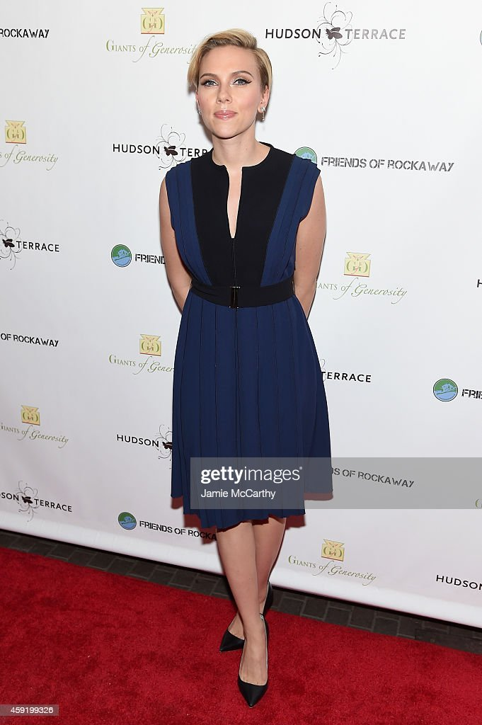 Actress <a gi-track='captionPersonalityLinkClicked' href=/galleries/search?phrase=Scarlett+Johansson&family=editorial&specificpeople=171858 ng-click='$event.stopPropagation()'>Scarlett Johansson</a> attends the Friends Of Rockaway 2nd annual Hurricane Sandy fundraiser at Hudson Terrace on November 18, 2014 in New York City.
