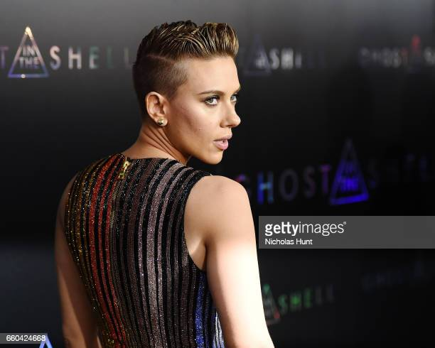 Actress Scarlett Johansson attends the 'Ghost In The Shell' premiere hosted by Paramount Pictures DreamWorks Pictures at AMC Lincoln Square Theater...