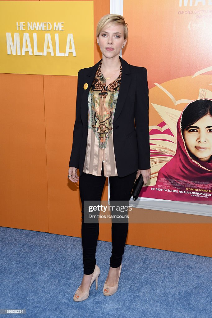 Actress <a gi-track='captionPersonalityLinkClicked' href=/galleries/search?phrase=Scarlett+Johansson&family=editorial&specificpeople=171858 ng-click='$event.stopPropagation()'>Scarlett Johansson</a> attends the 'He Named Me Malala' New York premiere at Ziegfeld Theater on September 24, 2015 in New York City.