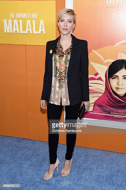 Actress Scarlett Johansson attends the 'He Named Me Malala' New York premiere at Ziegfeld Theater on September 24 2015 in New York City