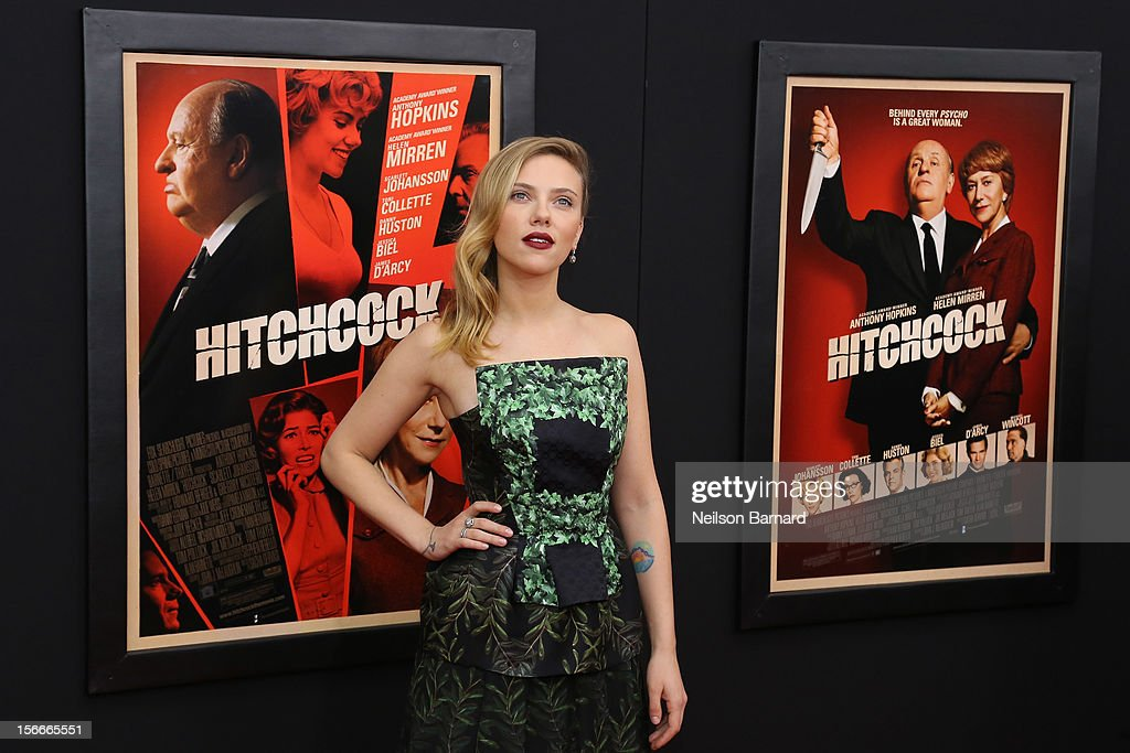 Actress <a gi-track='captionPersonalityLinkClicked' href=/galleries/search?phrase=Scarlett+Johansson&family=editorial&specificpeople=171858 ng-click='$event.stopPropagation()'>Scarlett Johansson</a> attends the 'Hitchcock' New York Premiere at Ziegfeld Theater on November 18, 2012 in New York City.