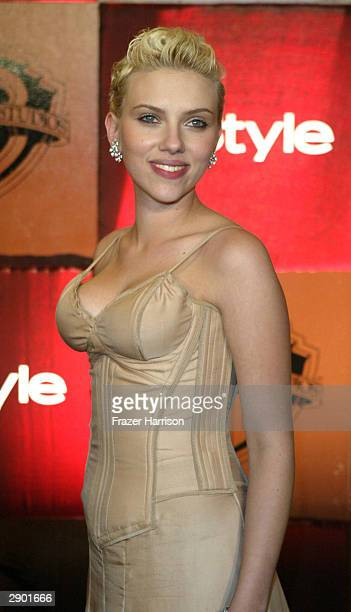 Actress Scarlett Johansson attends the InStyle Magazine and Warner Bros Studios post Golden Globe party at Palm Court Beverly Hills Hotel on January...