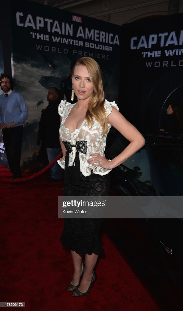 Actress <a gi-track='captionPersonalityLinkClicked' href=/galleries/search?phrase=Scarlett+Johansson&family=editorial&specificpeople=171858 ng-click='$event.stopPropagation()'>Scarlett Johansson</a> attends the premiere of Marvel's 'Captain America: The Winter Soldier' at the El Capitan Theatre on March 13, 2014 in Hollywood, California.