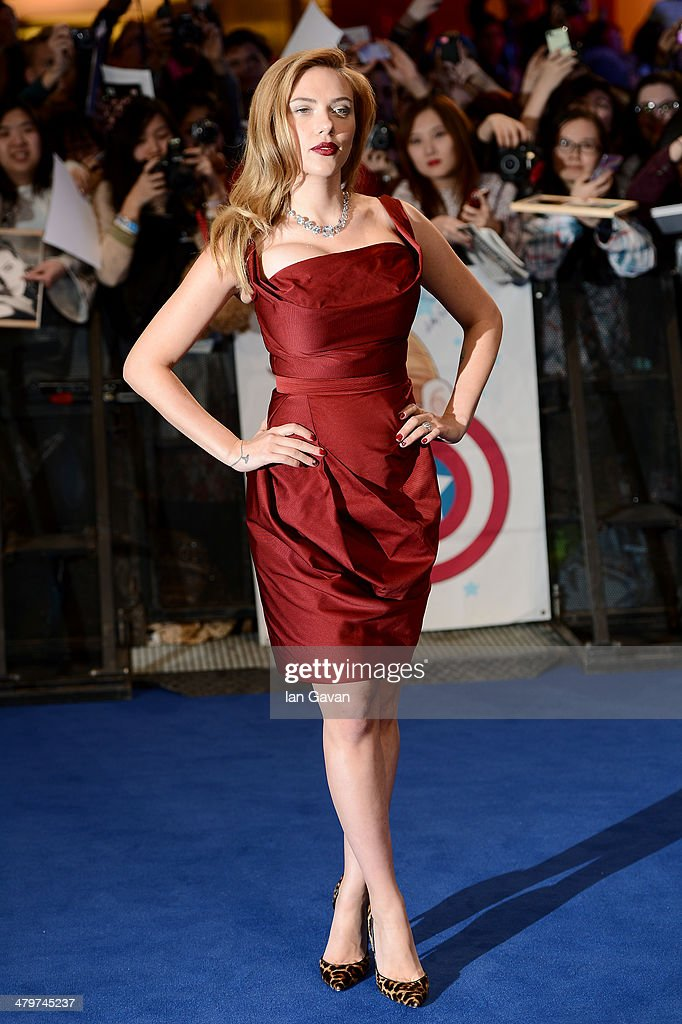 Actress <a gi-track='captionPersonalityLinkClicked' href=/galleries/search?phrase=Scarlett+Johansson&family=editorial&specificpeople=171858 ng-click='$event.stopPropagation()'>Scarlett Johansson</a> attends the UK Film Premiere of 'Captain America: The Winter Soldier' at Westfield London on March 20, 2014 in London, England.