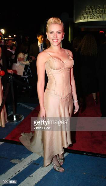 Actress Scarlett Johansson attends the UniversalFocus Features afterparty during the 61st Annual Golden Globe Awards on January 25 2004 in Beverly...