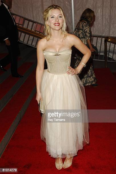Actress Scarlett Johansson departs from the Costume Institute Gala Superheroes Fashion And Fantasy at the Metropolitan Museum of Art on May 05 2008...