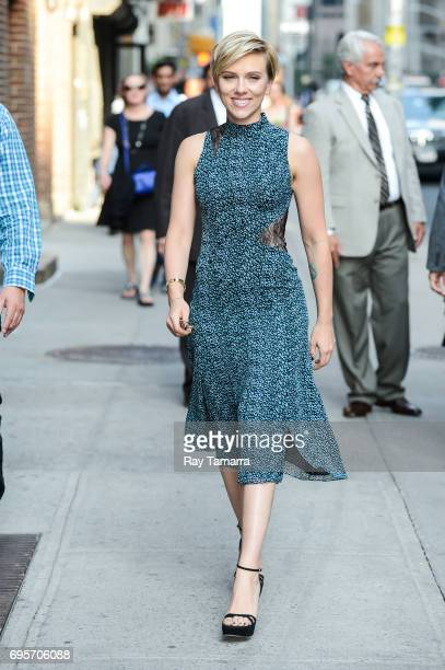 Actress Scarlett Johansson enters the 'The Late Show With Stephen Colbert' taping at the Ed Sullivan Theater on June 13 2017 in New York City