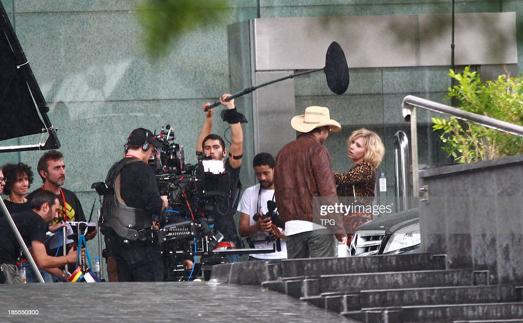 Actress Scarlett Johansson films scenes for her new moive 'Lucy' on Monday October 21,2013 in Taipei,China.