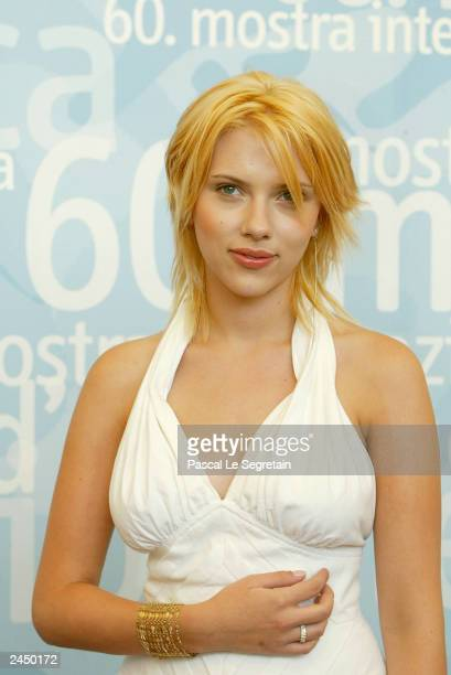 Actress Scarlett Johansson poses during a photocall at the 60th Venice Film Festival August 29 2003 in Venice Italy Johansson is in Venice to present...