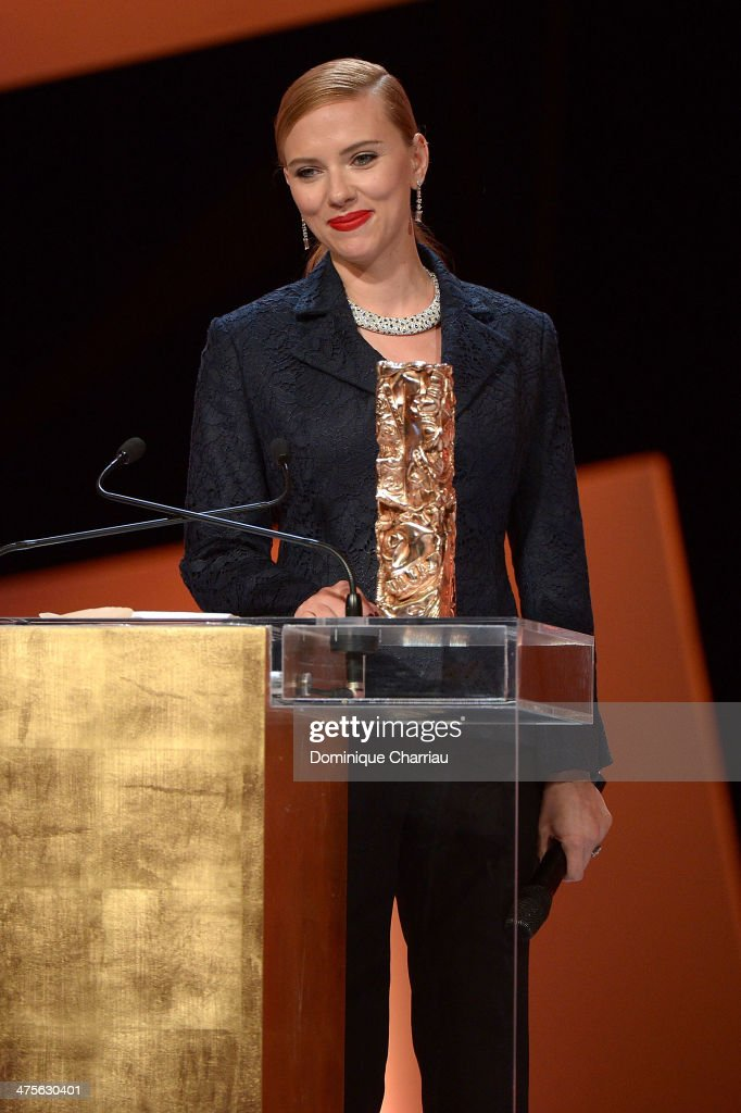 Actress <a gi-track='captionPersonalityLinkClicked' href=/galleries/search?phrase=Scarlett+Johansson&family=editorial&specificpeople=171858 ng-click='$event.stopPropagation()'>Scarlett Johansson</a> receives the Honorary Cesar on stage during the 39th Cesar Film Awards 2014 at Theatre du Chatelet on February 28, 2014 in Paris, France.