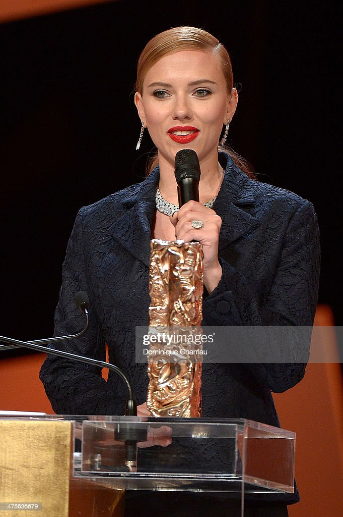 Actress Scarlett Johansson receives the Honorary Cesar on stage during the 39th Cesar Film Awards 2014 at Theatre du Chatelet on February 28, 2014 in Paris, France.