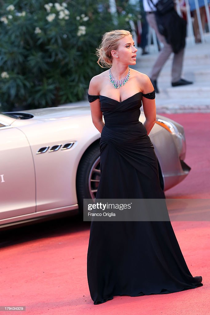 Actress Scarlett Johansson signs autographs at the 'Under The Skin' Premiere during the 70th Venice International Film Festival at Sala Grande on September 3, 2013 in Venice, Italy.