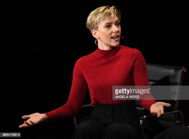 Actress Scarlett Johansson speaks at the Eighth Annual Women In The World Summit at Lincoln Center for the Performing Arts on April 6 2017 in New...