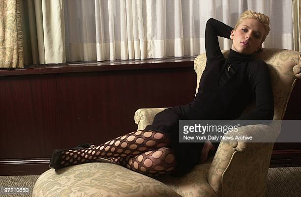 Actress Scarlett Johansson strikes a glamorous pose at the Regency Hotel on Park Ave She stars in the upcoming film 'Girl With a Pearl Earring'