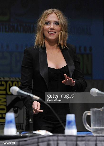 Actress Scarlett Johansson walks onstage at the Marvel Studios' 'Captain America The First Avenger' panel during ComicCon 2010 at San Diego...
