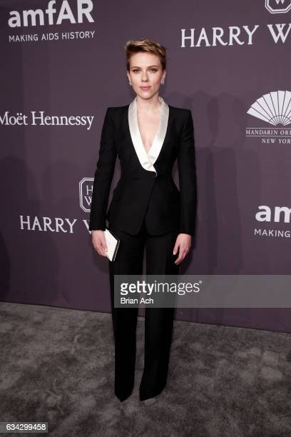 Actress Scarlett Johansson wearing Harry Winston attends the amfAR New York Gala where Harry Winston is a Presenting Sponsor at Cipriani Wall Street...