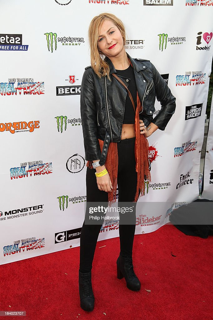 Actress <a gi-track='captionPersonalityLinkClicked' href=/galleries/search?phrase=Scout+Taylor-Compton&family=editorial&specificpeople=673991 ng-click='$event.stopPropagation()'>Scout Taylor-Compton</a> arrives at the VIP opening night party at Rob Zombie's Great American Nightmare held at the Fairplex on October 10, 2013 in Pomona, California