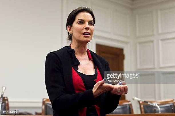Actress Sela Ward a former foster care youth speaks to preserve options for atrisk youth at the CORE Hope for Children panel at the Rayburn House...