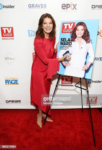 Actress Sela Ward attends the TV Guide Magazine event celebrating cover star Sela Ward and her show 'Graves' at The Rickey at Dream Midtown on...