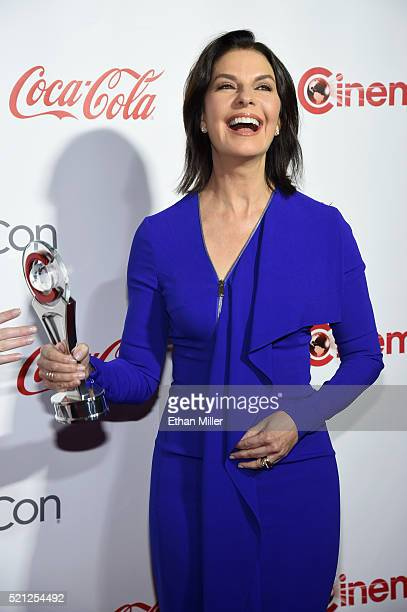 Actress Sela Ward one of the recipients of the Ensemble of the Universe Award for 'Independence Day Resurgence' attend the CinemaCon Big Screen...
