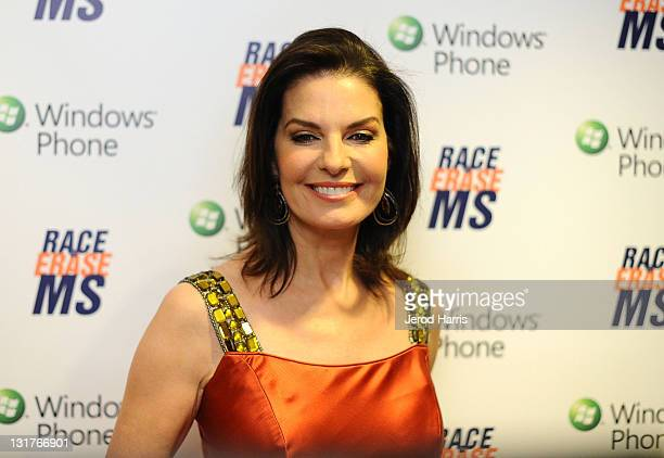 Actress Sela Ward visits Windows Phone at the 18th Annual Race to Erase MS event cochaired by Nancy Davis and Tommy Hilfiger at the Hyatt Regency...