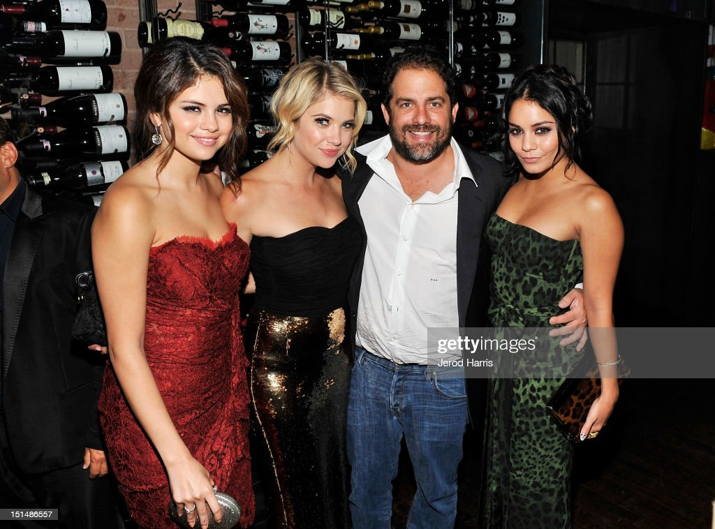 Actress Selena Gomez, Actress Ashley Benson, Writer/Director Harmony Korine and Actress Vanessa Hudgens attend a dinner for the cast of 'Spring Breakers' hosted by vitaminwater during the 2012 Toronto International Film Festival at Brassaii on September 7, 2012 in Toronto, Canada.