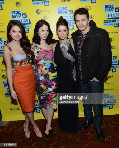 Actress Selena Gomez actress Rachel Korine actress Ashley Benson and actor James Franco attend the green room for 'Spring Breakers' during the 2013...
